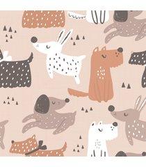 papel de parede cachorros decoraã§ã£o escandinava 57x270cm - multicolorido - dafiti