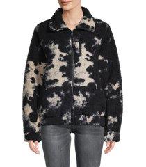 betsey johnson performance women's tie-dye teddy jacket - quartz - size xl