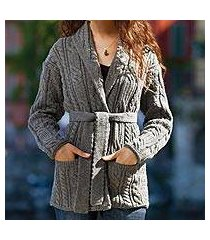 belted wool sweater jacket, 'donegal tides' (ireland)