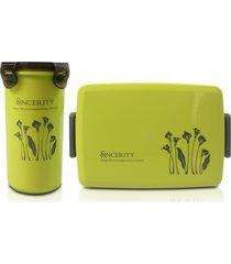 conjunto de pote para alimento com copo jacki design fitness verde - tricae