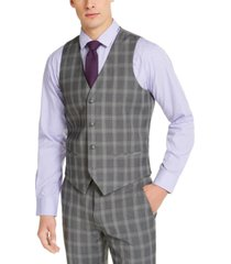 alfani men's slim-fit stretch gray plaid suit vest, created for macy's