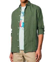 military green linen man shirt