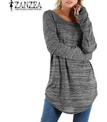 zanzea mujeres cuello redondo de manga larga tapas ocasionales blusa de la camisa floja de la vendimia -gris