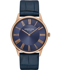 kenneth cole new york mens classic round blue dark genuine leather strap watch 42mm