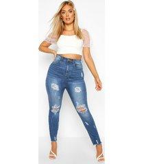 plus gebleekte mom jeans met versleten zoom, middenblauw