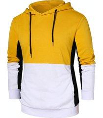 panel drawstring pullover hoodie