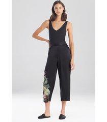 natori sansui embroidered silk pants, women's, 100% silk, size xs