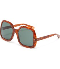 large square marble effect acetate frame sunglasses