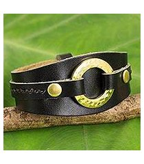 leather wristband bracelet, 'carefree in black' (thailand)