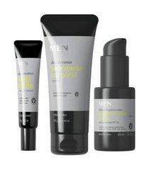 combo men: loção desodorante hidratante 200g + gel facial secativo para espinhas 15g + protetor solar facial fps30 48ml