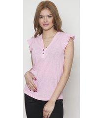 blusa manga de volantes cuello v rosa 609 seisceronueve