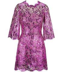 dolce & gabbana dolce & gabbana short laminated lace dress