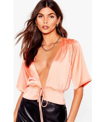womens can't tie me down satin cropped blouse - coral