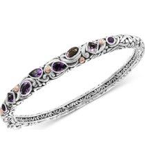 effy amethyst (2-3/4 ct. t.w.) bangle bracelet in sterling silver & 18k rose gold-plate