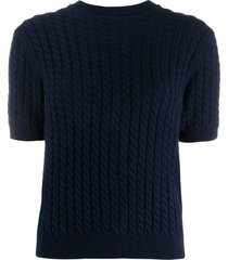 alessandra rich braided knit top - blue