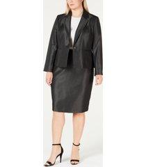 le suit plus size shiny one-button skirt suit