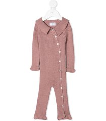violeta e federico point-collar ribbed jumpsuit - pink