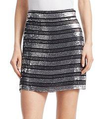 sequin stripe mini skirt