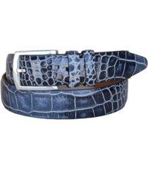 lejon men's azurmendi italian calfskin croc embossed leather dress belt