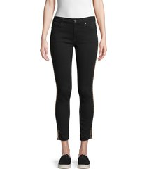 7 for all mankind women's gwenevere mid-rise leopard-print side-stripe skinny ankle jeans - black - size 25 (2)