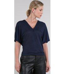 blusa feminina canelada transpassada manga curta decote v azul marinho