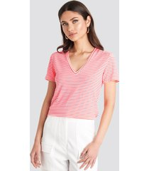 trendyol v-neck striped tee - pink