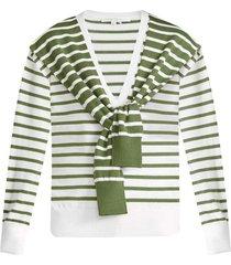 leni striped tie sweater