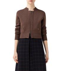 women's akris crop zip wool & silk cardigan, size 4 - brown