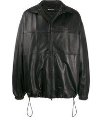 balenciaga panelled bomber jacket - black