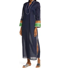 women's tory burch colorblock cover-up caftan, size medium - blue