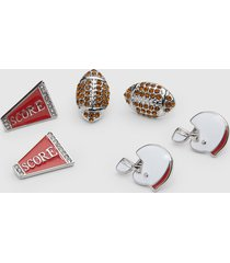 lane bryant women's game day stud earrings 3-pack onesz silver tone