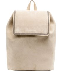 brunello cucinelli suede backpack with drawstring detail - neutrals