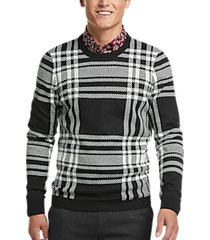paisley & gray slim fit crewneck sweater black & white plaid