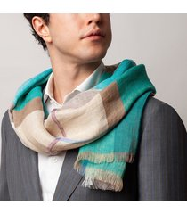 sciarpa da uomo, maalbi, 100% lino quadri verde acqua, primavera estate | lanieri