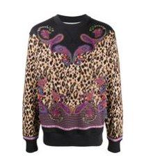 versace jeans couture moletom com estampa paisley - preto