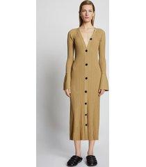proenza schouler rib knit cardigan dress darkkhaki/brown m