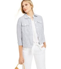 charter club petite linen striped jacket, created for macy's
