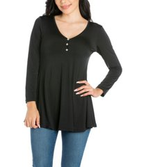 women's flared long sleeve henley tunic top
