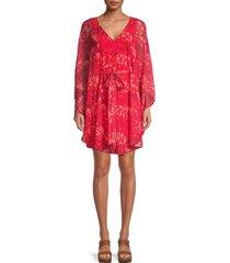 halston women's cape overlay dress - poppy - size m
