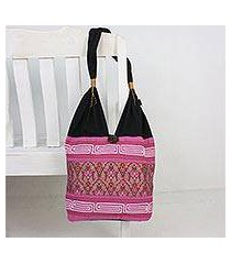 cotton blend shoulder bag, 'charming thai in fuchsia' (thailand)
