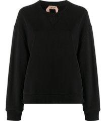nº21 lace-panel sweatshirt - black