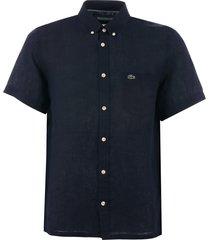 lacoste short sleeve linen shirt - navy ch4991-166
