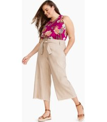 inc plus size belted frayed-hem culottes, created for macy's