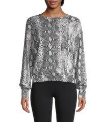 michael stars women's snakeskin-print roundneck sweatshirt - black combo - size m