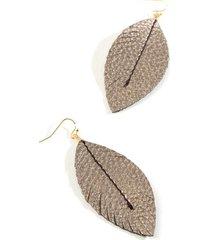 penelope leather drop earrings - pewter