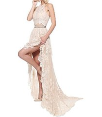 fanmu two piece halter high low lace prom dresses evening gowns champagne us 14