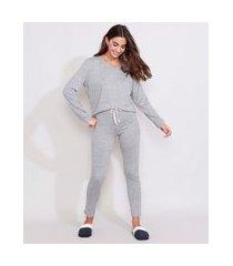pijama feminino manga longa amplo cinza mescla