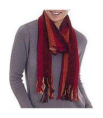 alpaca blend scarf, 'fiery beauty' (peru)