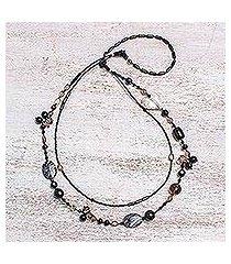 smoky quartz and onyx heart necklace, 'love night' (thailand)