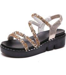 nuevas sandalias con correa de lentejuelas de verano para mujeres